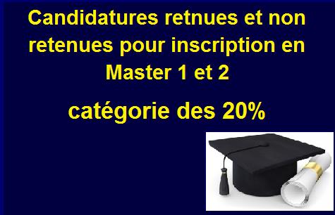 Résultats-Candidatures aux Master . 20%