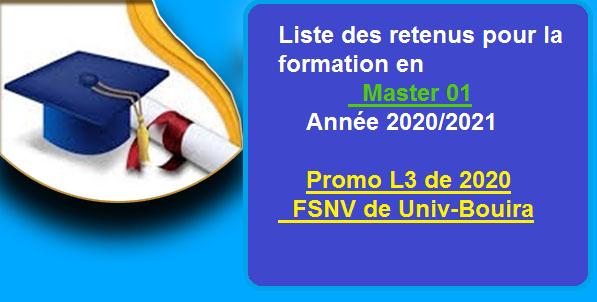 RETENUS MASTER 01-PROMO L3 2020-FSNV UNI BOUIRA